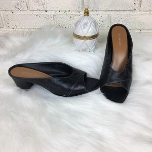 Liz Claiborne Black Leather Open Toe Mules